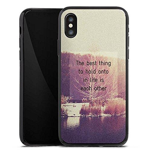 Apple iPhone X Silikon Hülle Case Schutzhülle Sprüche Bäume Liebe Silikon Case schwarz