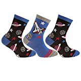 Childrens/Boys Cotton Rich Space/Star Design Socks (Pack Of 3) (6-8.5 UK Child) (Space)