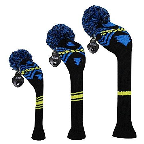 Meili Dark color Knit Golf Headcover set di 3per legno di driver, fairway e ibrida, collo lungo, grande pompon, Uomo, Blue Yellow Abstract