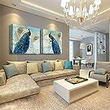BOYH Drucke auf Leinwand 2 Stück Pfau-Fotoabzüge HD Moderne Wandkunst Zuhause Dekorationen,B,40 * 40cm