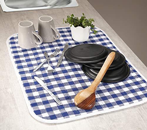 Gingham-Geschirrmatte, 24 x 28 cm, Blau/WHT, 2 Stück (Rack Apple Dish)