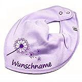 HALSTUCH PUSTEBLUME mit Namen oder Text personalisiert flieder für Baby oder Kind