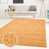 Teppich Uni Langflor Shaggy Modern Einfarbig Rechteckig Wohnzimmer Schlafzimmer, Farbe:Orange, Größe in cm:60x110 cm