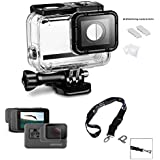 Replacement Waterproof Case Protective Housing For Gopro Hero 6 /Hero 5/Gopro Hero (2018) Sport Camera For Underwater Use Water Resistant Up To 147ft Or 45m + Lens And Screen Protector + Neck Strap