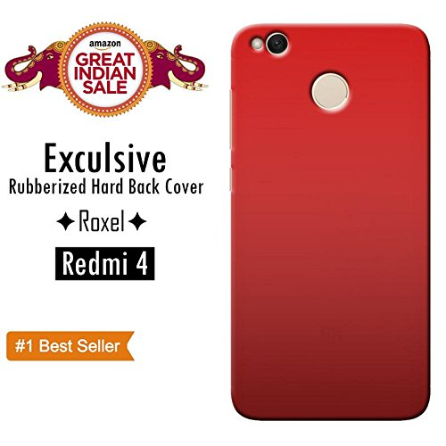 Roxel Back Cover Case,Original 3D Rubberised Matte Hard Case Back Cover with Orginal Colour & Finishing For Redmi 4 Premium Quality-Red