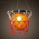 Lustre En Verre De Basket-ball LOFT American Retro Industriel Vent Haute Hauteur Plafonnier Gym Art Simple Tête Lampe Suspension En Fer