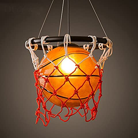Lustre En Verre De Basket-ball LOFT American Retro Industriel Vent Haute Hauteur Plafonnier Gym Art Décoration Simple Tête Lampe Suspension En Fer