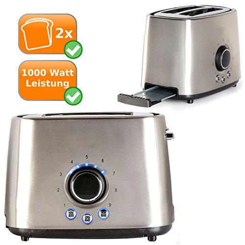 Edelstahl Retro-Toaster für zwei Toast-Scheiben, 1000Watt, Cool-Touch Gehäuse, silber
