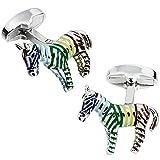 SYDDD Mignon élégant Cadeau de Vacances de Boutons de Manchette Animaux pour Les Chemises pour hommes-90496 Zebra