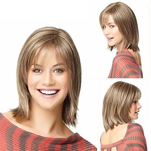 Verkauf natürlich aussehende braunmeliert Blonde Farbe voll Kunsthaarperücke gerade kurze Haare für Frauen (Günstige Afro Perücken Für Verkauf)