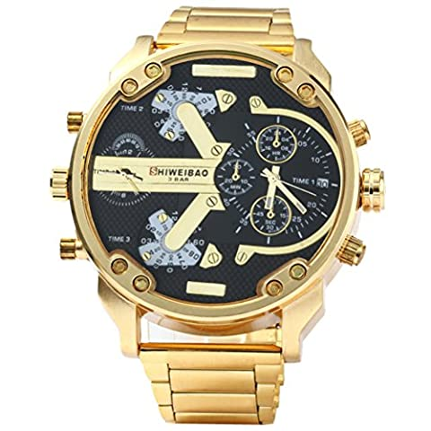 VORCOOL SHIWEIBAO 3137 Men Dual Time Display Quartz Wrist Watch with Stainless Steel Band (Golden Black)