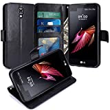 LG X Screen Hülle, LK Luxus PU Leder Brieftasche Flip Case