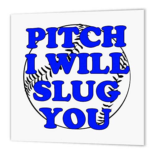 3dRose ht_173312_2 Pitch I Will Slug You. blau Baseball Softball Bügelpapier zum Aufbügeln, 15,2 x 15,2 cm, Weiß -