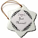 3dRose orn_40620_1 White Leopard Just Married Snowflake Porcelain Ornament, 3-Inch