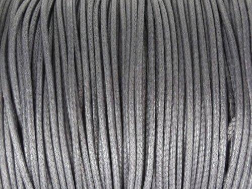 Baumwoll Kordel Korean Wax Cord 1mm in grau - 1 Meter - Grau Cord
