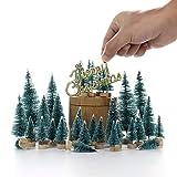 LouisaYork Miniatur-Weihnachtsbaum, Mini-Tischbaum, 34 Stück, Mini-Sisal, Schnee, Frost, Baum, Mikrolandschaft für Weihnachten, Basteln, Tischdekoration - 8