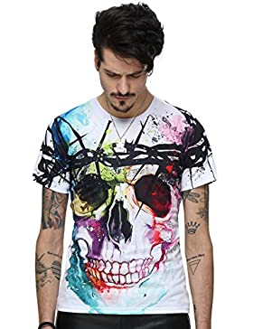 Pizoff Unisex Sommer leicht bunt bequem cool Digital Print Schmale Passform T Shirts mit Bunt 3D Muster