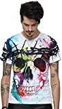 Pizoff Unisex Sommer leicht bunt bequem cool Digital Print T Shirts mit Bunt skull Skelett 3D Muster, Y1625-18, Gr. M(EU-S)