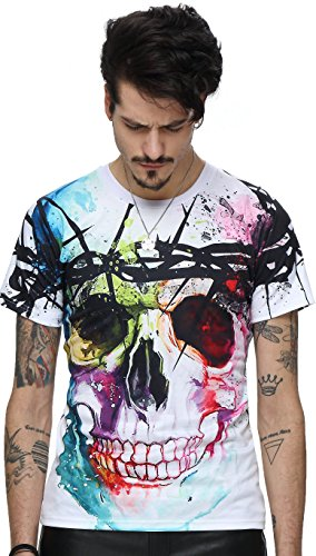 leicht bunt bequem cool Digital Print T Shirts mit Bunt skull Skelett 3D Muster, Y1625-18, Gr. XL(EU-L) (Marvel Kleid)