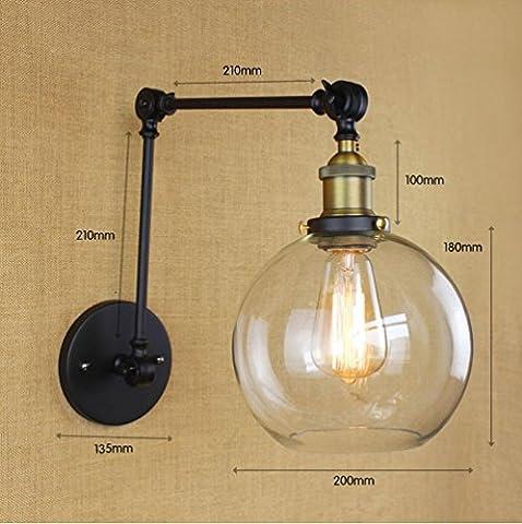 FAYM - lampe de mur Retro double tige industrielle bras long abat-jour en verre FER FORGÉ décorent Wall Lamp ,