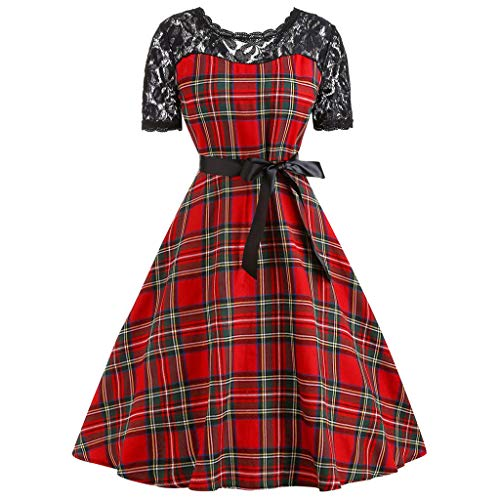 IMJONO Rock Dress,2019 Jubiläumsfeier Frauen Vintage Kurzarm Plaid Spitze Patchwork Abend Party Prom Swing Dress(XX-Large,rot)