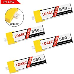4pcs LDARC 550mAh 1S LiPo Batería HV 3,8V 50C JST-PH 2,0 Conector PowerWhoop mCPX para Inductrix FPV Plus Micro FPV Racing Drone etc.