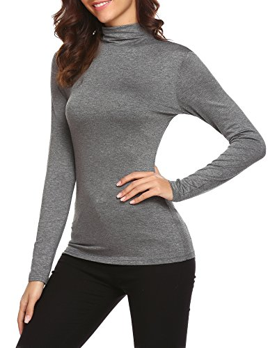 Beyove Damen Rollkragenpullover Rollkragenshirts Langarmshirt slim fit Basic mit Rollkragen Grau