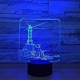 Nachtlicht Leuchtturm Modell 3D LED Nachtlicht 7 Farbwechsel Stimmungslampe USB Illusion Tischlampe Für Haus Dekorative