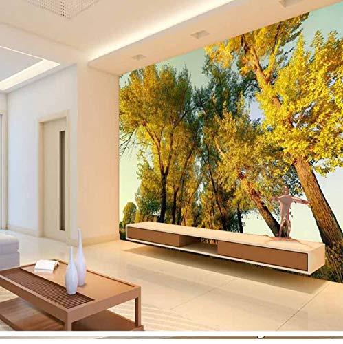 Rureng Personalisiertes Kundenspezifisches Tapetengebirgswald-Gelb Verlässt Landschaftsmalereisofasschlafzimmer Fernsehhintergrund 3D Tapeten-200X140Cm