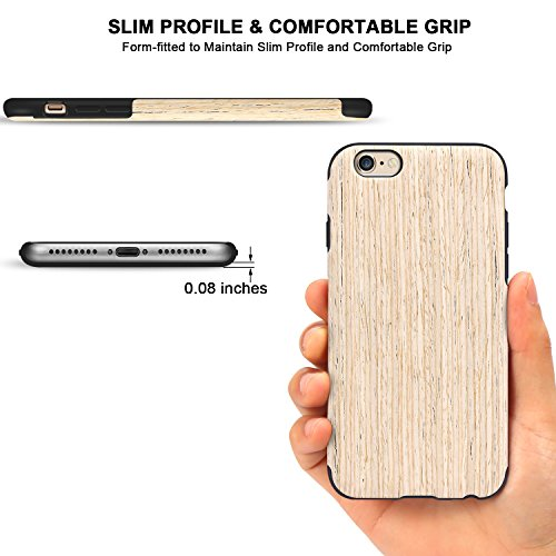 TENDLIN Coque iPhone 6s Bois et Souple TPU Silicone Hybrid Slim Etui pour iPhone 6 et iPhone 6s (Nordic Noyer) Nordic Noyer