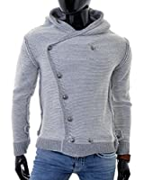 D&R Fashion Mens Cardigan Sweater Thick Warm Decorative Fastening Hooded Black Grey