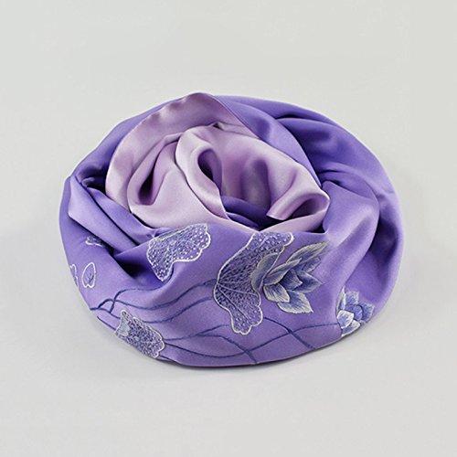 WENJUN Stickerei Seide Seide Schal Schal Schal Traditionelle Kunst Und Kunsthandwerk Geschenke 4 Farben Zur Auswahl ( Farbe : Lila , größe : 30*20*4cm ) (Handgemachte Kunst Und Kunsthandwerk)