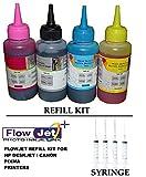 #8: Flowjet Photo Quality Refill Ink Bottle Kit with 4 Syringe and Needles For Refilling HP 21 22 802 803 680 678 46 704 703 900 Inkjet Printer Cartridge