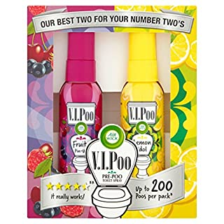 Air Wick VIPoo Pre Poo Spray, Twin Pack, Lemon and Fruity, 2x 55ml