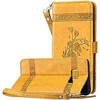 Galaxy S8 Leder Hülle Gold, Vintage Blumen Muster Ledertasche Lederhülle Handyhülle Tasche Magnet Klapphülle Brieftasche Wallet Flip Case Book Cover Kartenfach Stand Schutzhülle für Samsung Galaxy S8