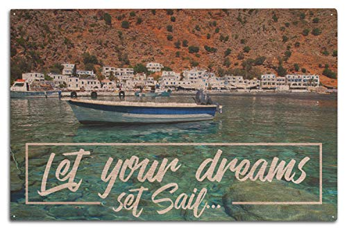Lantern Press Let Your Dreams Set Sail - Holzboot und Küstenstadt, Holz, Multi, 10 x 15 Wood Sign (Sammler Tee-sets)