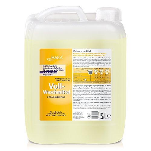 HAKA Vollwaschmittel I 5 Liter Flüssigwaschmittel I Universalwaschmittel für weiße, farbechte Textilien I 100 Waschladungen Pro Kanister