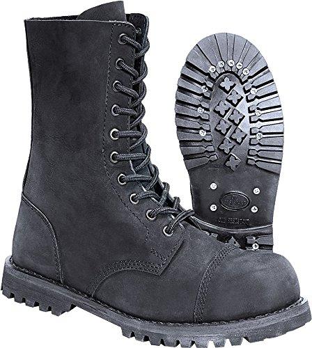Brandit - Phantom Boots 10 Loch Nubuk Schuhe mit Stahlkappe Schwarz Größe 39 (UK5)
