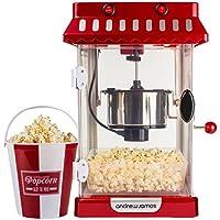 Andrew James Machine à Popcorn Style Retro Cinéma Machine a popcorn inclus 4 Boîtes de Popcorn Réutilisables