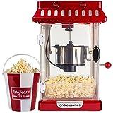 Andrew James Machine Popcorn Style Vintage 300W Pop-corn Maïs Soufflé 4 Godets de Service Réutilisables Cinéma