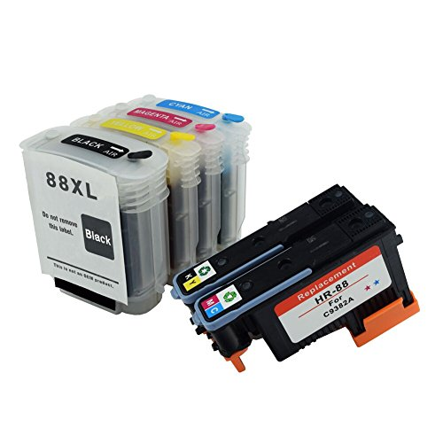 C-Dling Compatible 2 Pack HP 88 Print head and 4 Pack Ink cartridges for HP Officejet Pro K5400、L7550、L7580、L7590、L7650、L7680、L7750、L7780、L7790