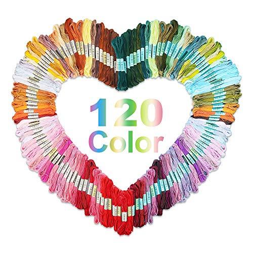 Stickgarn,Nasharia 120 farben Embroidery Threads, Nähgarne Stickerei set, Multicolor Docken Sticktwist, 8m 6-fädig Basteln Crafts Floss für Freundschaftsbänder, Stickerei, Kreuzstich -
