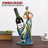 Super Black Bull Estante de Vino Tinto de Estilo Europeo Estante de Resina Creativo Estante de Vino Pintado Estante de Botella Pintado Personalizado, Belleza de Abanico Plegable (Rojo Rosado), B
