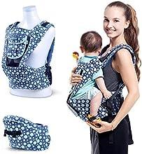 Amzdeal Mochila Portabebé Mochila ajustable al tamaño, Portabebés de diseño Ergonómico?para bebés y niños pequeños de 3 - 36 meses Color Azul