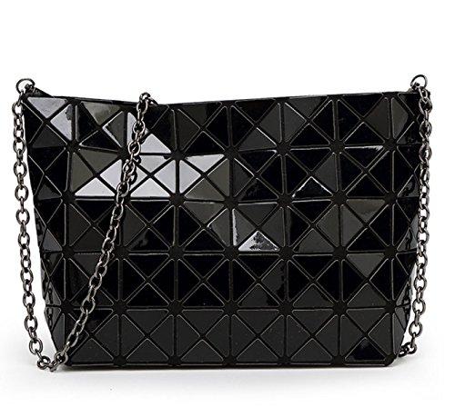 Dame Persönlichkeit Laser Falten Geometrische Tasche Umhängetasche Black