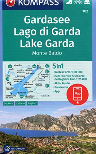 Carta escursionistica n. 102. Lago di Garda, Monte Baldo 1:50.000. Ediz. italiana, tedesca e inglese: 5in1 Wanderkarte 1:50000 mit Panorama, Aktiv ... in der KOMPASS-App. Fahrradfahren. Segeln.