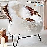 Faux Peau de Mouton en Laine Tapis 60 x 90 cm Imitation Toison Moquette Fluffy Soft Longhair Décoratif Coussin de Chaise Canapé Natte (Blanc, 60 x 90 cm)
