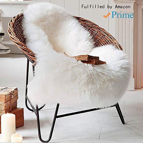 Tongfushop Lammfellimitat Teppich,60 x 90 cm Lammfell Grau Schaffell Teppich Longhair Fell Nachahmung Wolle Bettvorleger Sofa Matte (Weiß, 60 x 90 cm) (Weiß, 60 x 90 cm) -