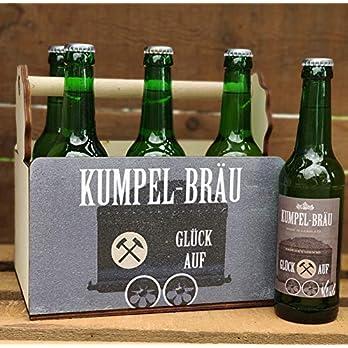 Lusitge Bierträger für Bierflaschen | Flaschenträger für Bergleute | 6er Träger aus Holz Kumpelbräu | die Bierkiste für…
