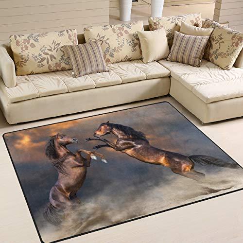 JSTEL INGBAGS Super weiche Moderne Pferdedecke 160 x 120 cm Wohnzimmerteppich Schlafzimmer für Kinder Spielen solide Heimdekorator Bodenteppich und Teppiche 63 x 122 cm, Multi, 80 x 58 Inch